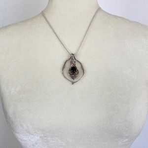 Sterling Silver / Black Stone Necklace